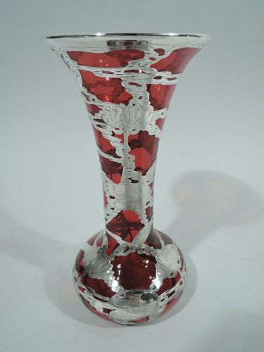 American Art Nouveau Red Silver Overlay Vase with Rare Waterlily Motif