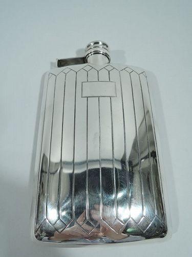 Antique American Art Deco Sterling Silver Flask by Meriden Britannia