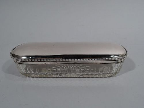 Antique Austrian Classical Silver and Glass Vanity Jar