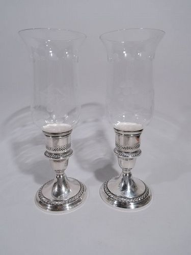 Pair of Gorham Cambridge Sterling Silver & Glass Hurricane Lamps