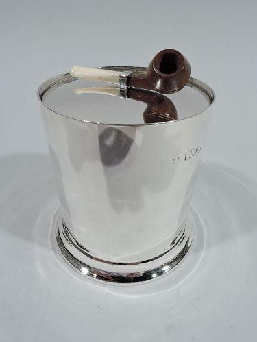 Antique English Victorian Sterling Silver Pipe Tobacco Box 1898