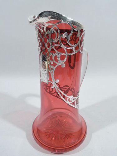American Art Nouveau Red Silver Overlay Claret Jug