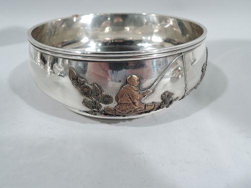 Gorham Japonesque Mixed Metal & Sterling Silver Fisherman Bowl 1881