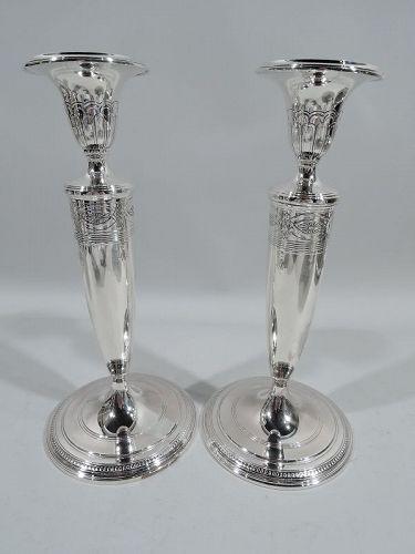 Pair of Tiffany Modern Regency Sterling Silver Candlesticks C 1923