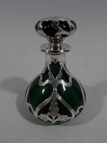 Antique Gorham Art Nouveau Green Silver Overlay Perfume