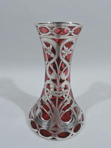 Antique Alvin Art Nouveau Red Silver Overlay Vase