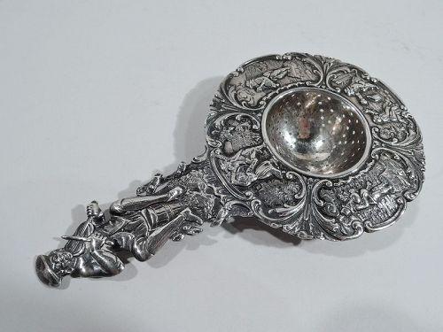 Antique German Silver Country Dance Tea Strainer C 1910