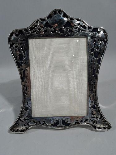 Antique American Art Nouveau Pierced Sterling Silver Picture Frame