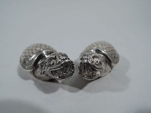 Pair of Antique Japanese Silver Figural Turtle Salt & Pepper Shakers
