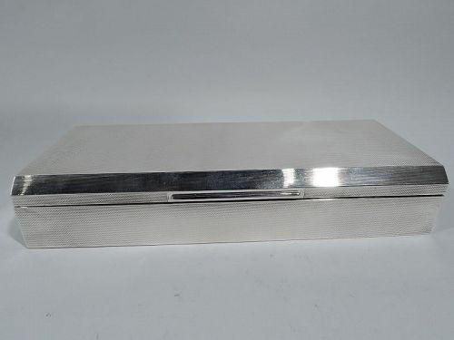 English Art Deco Modern Sterling Silver Box 1953