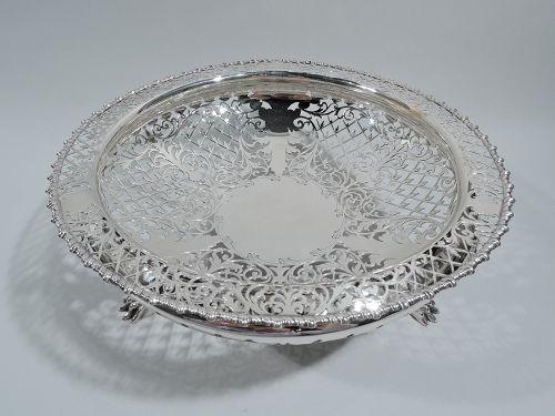 Antique English Edwardian Sterling Silver Openwork Bowl