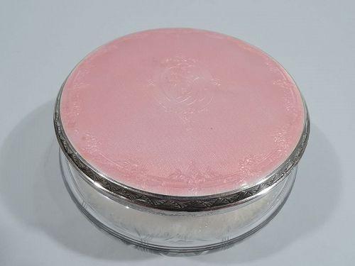 Antique American Sterling Silver & Pink Enamel Powder Jar by Kerr