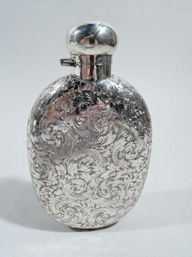 Antique English Victorian Sterling Silver Flask by Elkington 1892