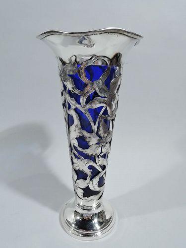 Antique American Art Nouveau Sterling Silver Vase with Cobalt Liner