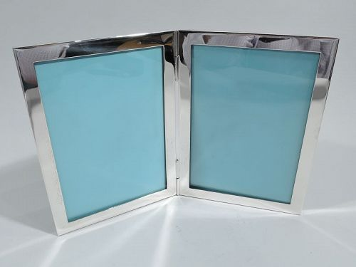 Tiffany Midcentury Modern Sterling Silver Double Diptych Picture Frame