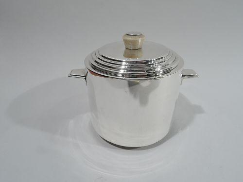Snazzy Art Deco Barware - English Sterling Silver Ice Bucket 1933
