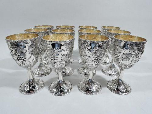 Set of 12 Baltimore Sterling Silver Grapevine Wine Goblets C 1900
