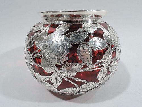Alvin Art Nouveau Red Silver Overlay Rose Flower Bowl Vase