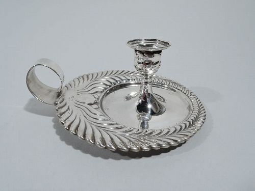 Antique Tiffany Wave Edge Sterling Silver Chamberstick