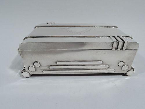 Unusual Machine Age Silver Box in Form of Art Deco Radio C 1930