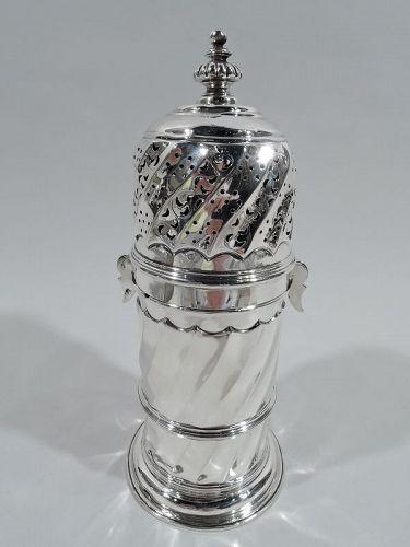 Large Antique English Classical Britannia Silver Sugar Caster 1893