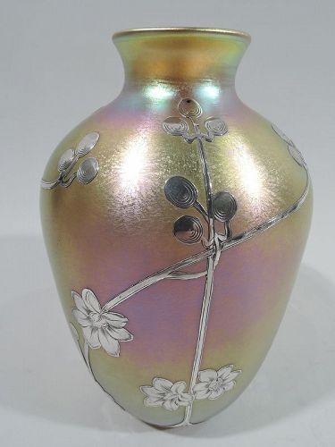 Quezal Art Nouveau Iridescent Silver Overlay Vase