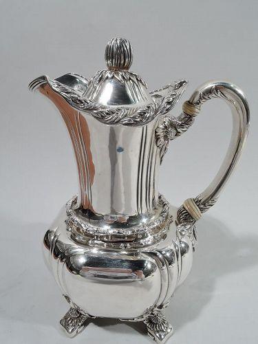Antique Tiffany Chrysanthemum Sterling Silver Hot Milk Pot