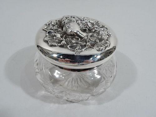 Antique American Art Nouveau Sterling Silver and Cut-Glass Powder Jar