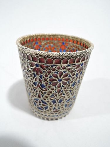 Antique Plique a Jour Beaker in Rich Blue and Red