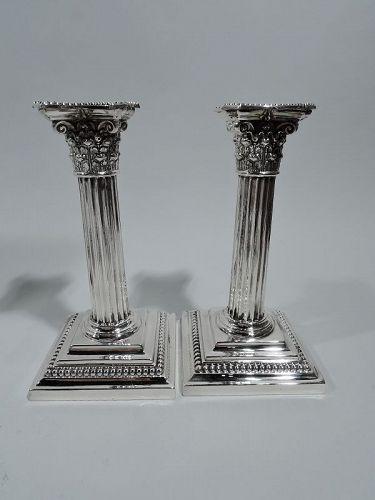 Antique Gorham Edwardian Classical Sterling Silver Column Candlesticks