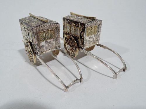 Pair of Antique Japanese Silver Gilt Novelty Salt & Pepper Shakers