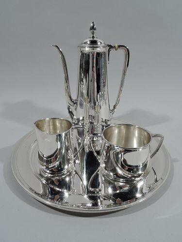 Tiffany American Art Deco Sterling Silver 3-Piece Coffee Set on Tray
