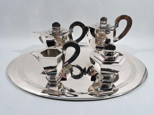 Antique Austrian Art Deco Silver 4-Piece Coffee and Tea Set on Tray