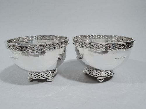 Pair of Antique English Arts & Crafts Sterling Silver Bowls 1929