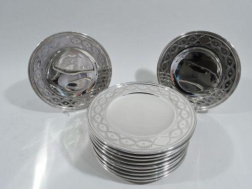 Set of 12 Antique Tiffany Winthrop Sterling Silver Dessert Plates