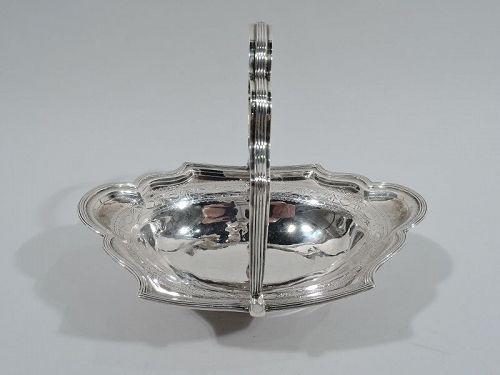 Pretty Antique English Georgian Neoclassical Sterling Silver Basket