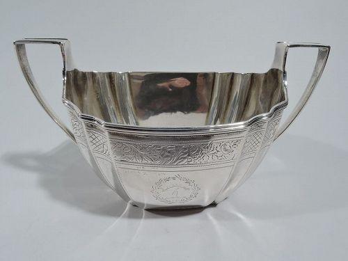 Antique Scottish Georgian Neoclassical Sterling Silver Sugar 1804
