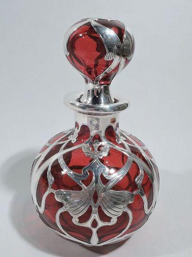 Large Gorham Art Nouveau Red Silver Overlay Cologne Bottle