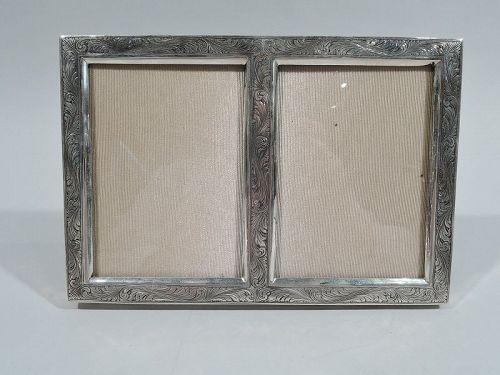 Beautiful Art Nouveau Silver Double Picture Frame