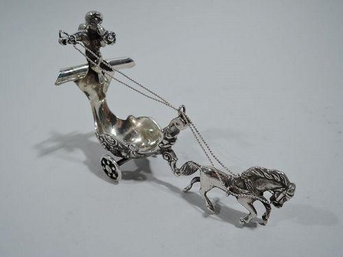 Antique German Rococo Silver Fantasy Novelty Coach & Cherub Open Salt