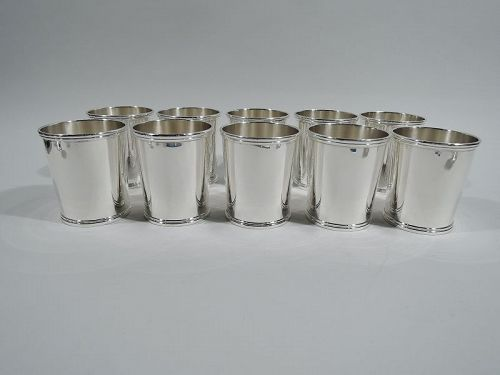 Set of 10 American Mint Julep Cups by Chicago Silver Company