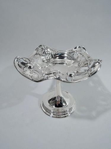 Antique American Art Nouveau Sterling Silver Compote