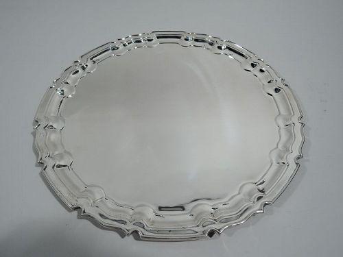 Traditional English Georgian Sterling Silver Piecrust Tray 1930