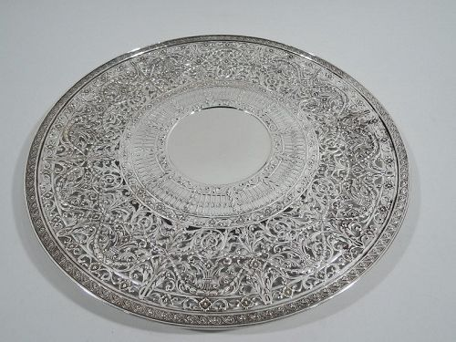 Large & Fancy Gorham Sterling Silver Cake Plate with Pierced Ornament