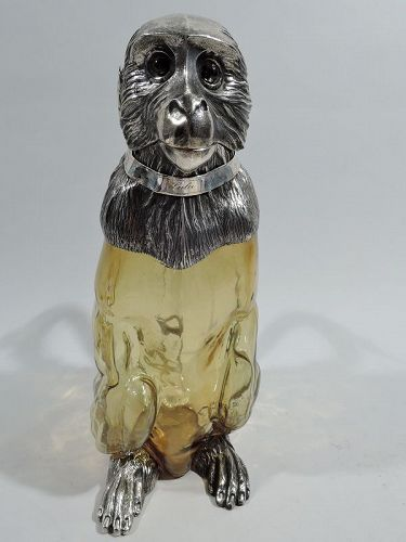 Antique English Victorian Sterling Silver & Glass Monkey Decanter