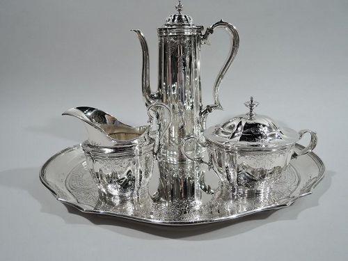 Pretty Antique Tiffany Sterling Silver 3-Piece Coffee Set on Tray