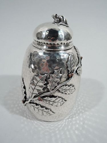 Gorham Mixed Metal Tea Caddy with Grasshopper & Berry Branch 1881