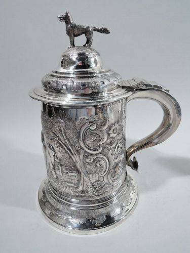 Antique English Regency Sterling Silver Fox and Horse Tankard 1834