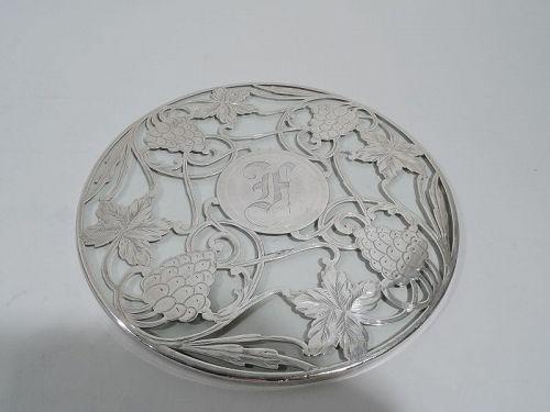 Antique American Art Nouveau Silver Overlay Grape Trivet
