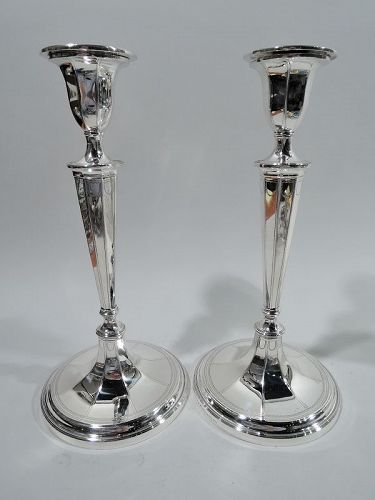 Pair of Antique Tiffany English Neoclassical Candlesticks
